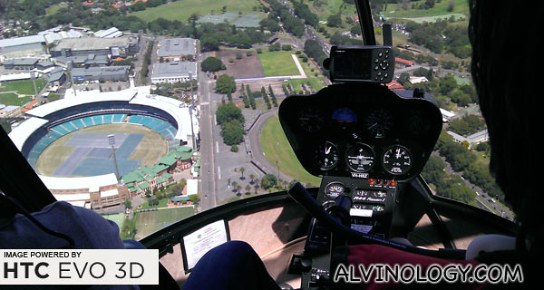 Flying over a stadium