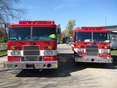 Rescue 16 and Engine 11 (TrueWolverine87 (Busy)) Tags: rescue michigan engine firetruck pierce fireengine firedepartment apparatus pumper fireapparatus heavyrescue piercedash rescuetruck piercesaber mountmorristownship