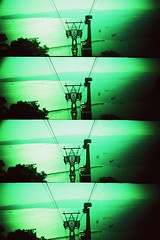 (The New Motive Power) Tags: sea car silhouette rock analog toy four bay lomo xpro lomography supersampler support view crossprocess 4 machine cable slidefilm structure cablecar gibraltar vignette quarters tankers