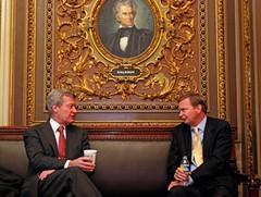 Montana Senator Max Baucus and White House Deputy Chief of Staff Jim Messina