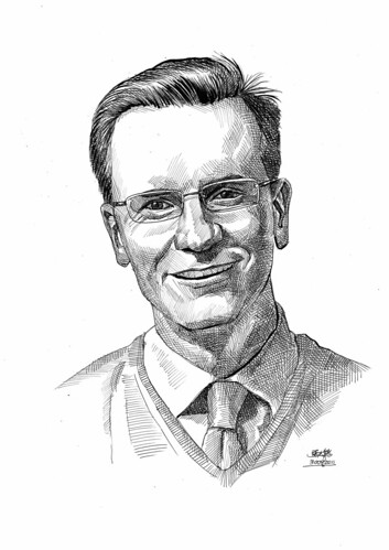 portrait in pen and brush of Dr. Micheal Clem