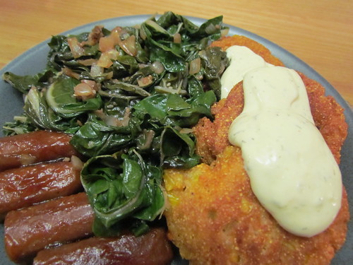 Tofu Fried RiceHush Puppies; Mexican-Style Dipping Sauce for Corn; Eat Your Collard Greens; vegan sausage