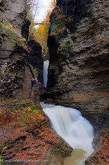 Cavern Cascade & Suspension Bridge (Larry Mandelker) Tags: autumn fall creek seasons fallcolor glen fallfoliage waterfalls rivers newyorkstate fingerlakes cascade hdr highdynamicrange watkinsglen autumncolor watkinsglenstatepark naturalplaces