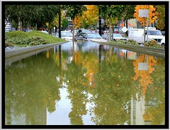 Street Relfection (Charles Lamoureux) Tags: street autumn reflection vancouver cityscape britishcolumbia cityofvancouver architectureandcities