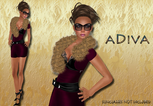 aDiva couture Mag Fur Dress Bordeaux
