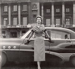 Dior And Buick, 1953, by Willy Maywald (glen.h) Tags: france cars fashion buick women gm fifties 1950s 50s couture automobiles dior christiandior generalmotors