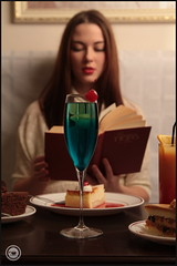 Read eat (D.Boyarrin) Tags: blue red orange coffee girl beauty yellow cake cherry reading book cafe cool nice tea drink sweet russia bokeh chocolate teal gorgeous cream cheesecake babe read cocktail le commercial lovely beverages chocolatecake blackdress lipetsk russianbeauty