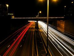 Quinton Bypass (Birmingham, UK) (db_78) Tags: longexposure cars pen dark evening birmingham motorway highcontrast olympus quinton lighttrail dualcarriageway quintonbypass ep3pen