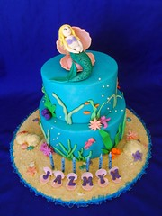Jazmyn's Mermaid Cake (SweetTart Cakes {Natalie ~ a.k.a Sweetness & Bite}) Tags: seaweed coral sand seahorse starfish shell mermaid underthesea mermaidcake