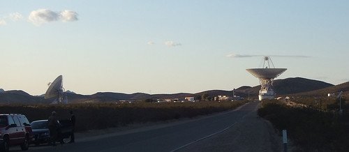 Goldstone's 70-meter dish, stowed, and a 34-meter dish, near sunset