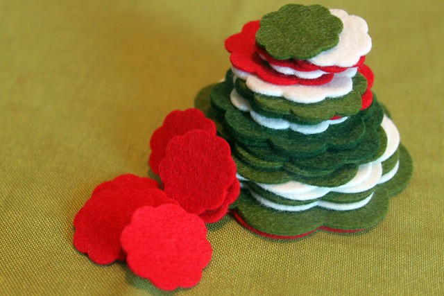 cut out stack in Christmas colors
