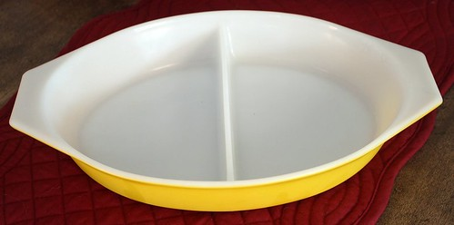 primary yellow pyrex divided dish
