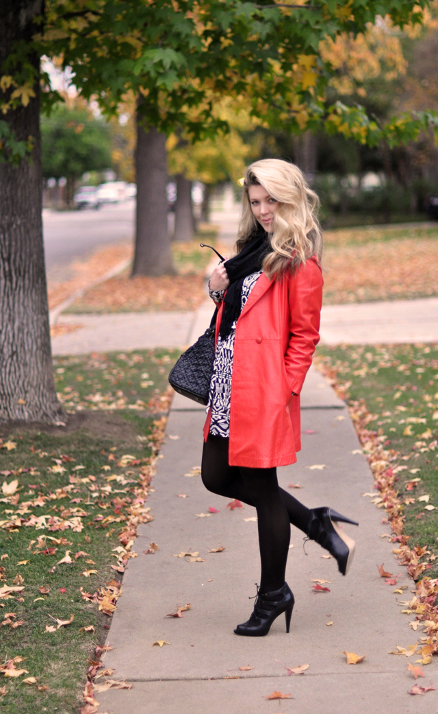 vintage red leather jacket - black tights-black and white dress