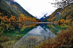 Autumn Lake (nawapa) Tags: china travel autumn mountain lake colour reflection water landscape view historic explore valley sichuan jiuzhaigou rhinoceros 2011 nanping shuzheng nawapa