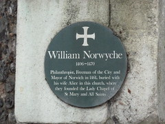 Photo of Alice Norwyche and William Norwyche green plaque