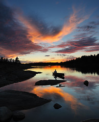 Moosehorn Bay II, French River (Peter Bowers) Tags: sunset lake ontario canada colour reflection river paddle calm historic canoe solo frenchriver voyageur furtrade singhray ndgradfilter moosehornbay