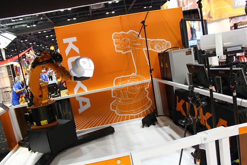 KUKA arm with tracked projected face