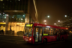 Red bus to Bethnal Green (OwenLloyd) Tags: city uk longexposure london water night river canarywharf