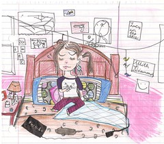 Flu (K(:) Tags: pink me water cat paper bed crane drawing laptop room colored floyd sick flu meds enferma