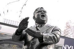 Greenwich Village Nov 2011  Mayor Fiorello LaGuardia (Whiskeygonebad) Tags: nyc people ny fall statue thevillage afternoon mayor artistic manhattan sunday saturday tourists neighborhood nyu visitors greenwichvillage fiorellolaguardia 2011 thelittleflower