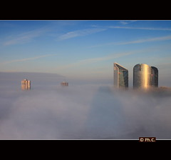 Lost in translation (Philippe2032 from Paris) Tags: urban panorama mist france fog nanterre skyscrapers nuages brouillard ladfense puteaux hautsdeseine toursaillaud tourssocitgnrale tourgranite