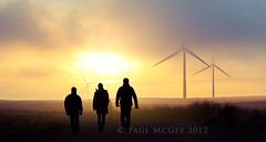 Sunset Walk.jpg (PMMPhoto) Tags: road uk sunset people cloud mist silhouette fog walking scotland track wind britain silhouettes muppet turbine atmospheric windfarm whitelee