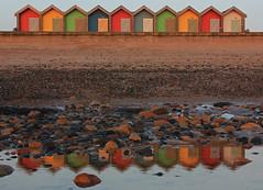 Reflective Huts (Blyth Guy) Tags: morning sea england reflection art english beach water reflections mirror coast colours northumberland northsea beachhut northeast beachhuts reflectionsinwater 550d blythbeach canon550d