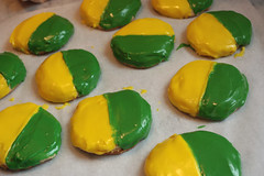 green and gold cookies (saucy dragonfly) Tags: green cookies yellow gold baking team cookie colours bright sweet glaze saskatoon treat cheer cheerleading adenbowman saucyssprinkles