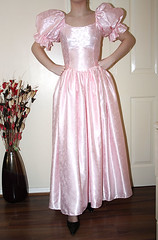 vintage baby pink satin gothic dress (sheerglamour) Tags: leather fetish sissy satin pvc governess