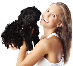 Cheerful Young Woman Playing With Her Puppy~ Isolated On White Background (susan_mck) Tags: friends people dog pet baby black cute love girl beautiful face smiling female laughing hair puppy studio fun happy person healthy model eyes holding pretty friendship natural expression background adorable lifestyle happiness canine fresh clean health blond friendly cheerful fitness playful isolated confident intelligent purity