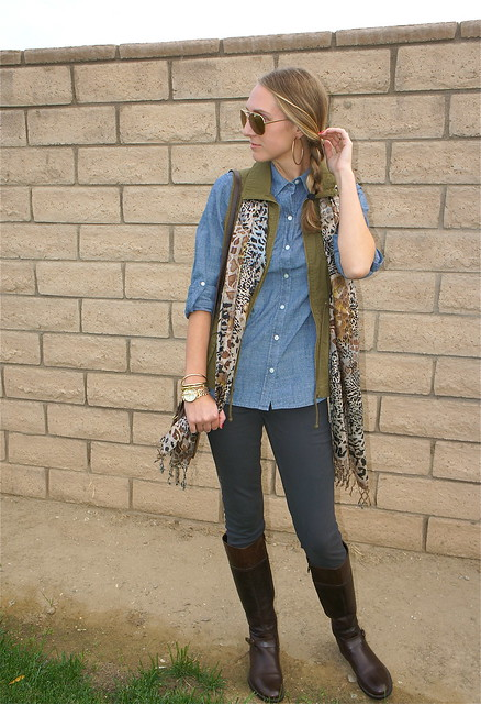 Gray jeans with denim shirt and cargo vest