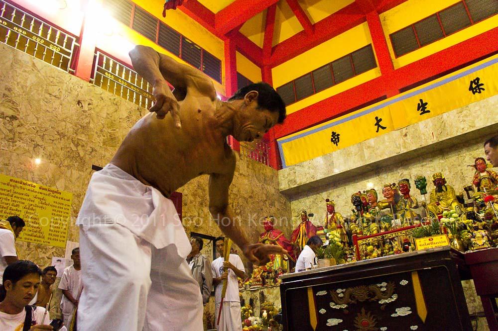 Trance @ Ban Tha Rue Shrine, Phuket Vegetarian festival 2011, Phuket, Thailand