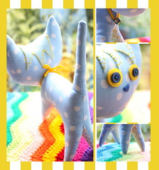 My Kind of Kitty Cat :) (zooivlooi) Tags: blue yellow cat pattern pointy crafts kitty fabric wee dots wonderfuls