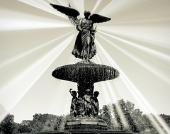 Everyday The Sun Comes Up (StevenGL) Tags: park new york city nyc autumn urban white ny black water fountain circle square waterfall pretty manhattan central halo holy splash bethesda cascade vitage