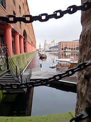 Albert Dock - Green Dock Walls (Pammy'sPics) Tags: reflection water liverpool albertdock mannisland citywaterfront