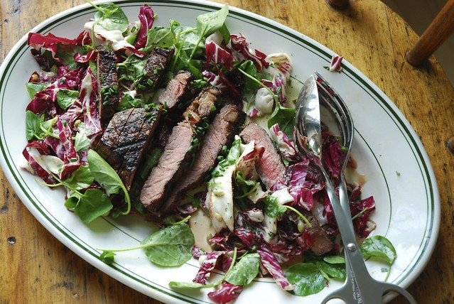 Sirloin and fall greens salad