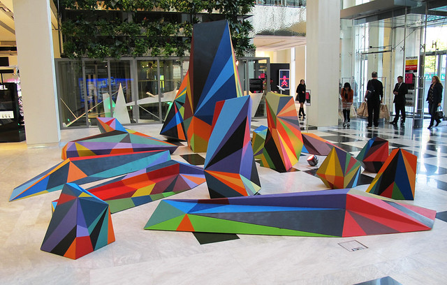 Sun Ray Ricochet : Painted Sculpture Installation.