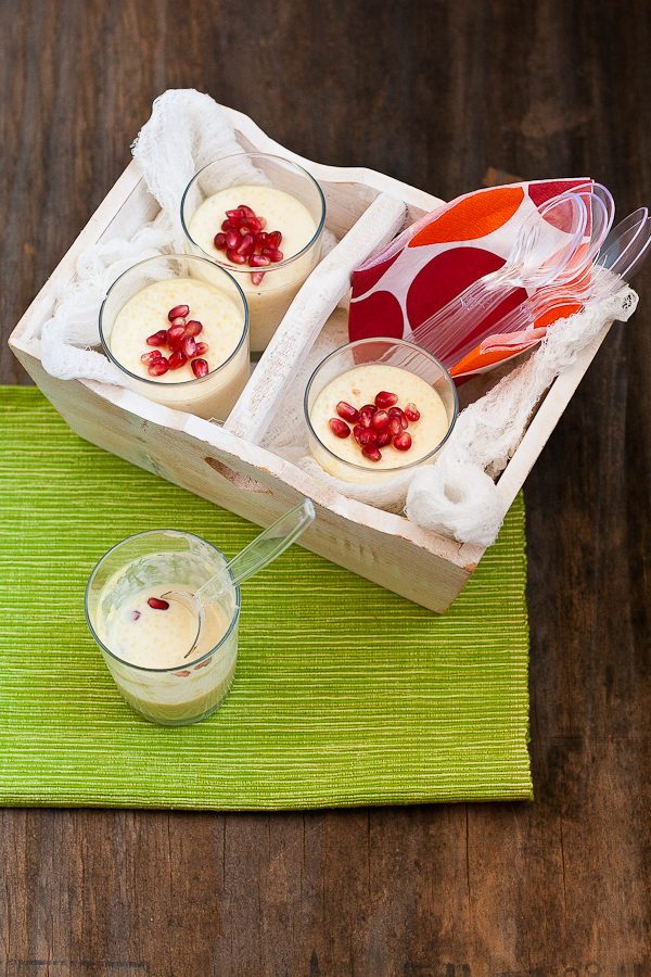 Phirni with pomegranate seeds
