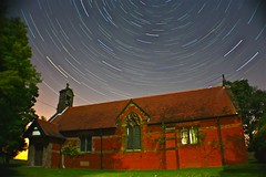 Tiny Church Megga Trail! (ArtfullSnapper) Tags: light sky church night dark stars spiral star spin trail starry spier