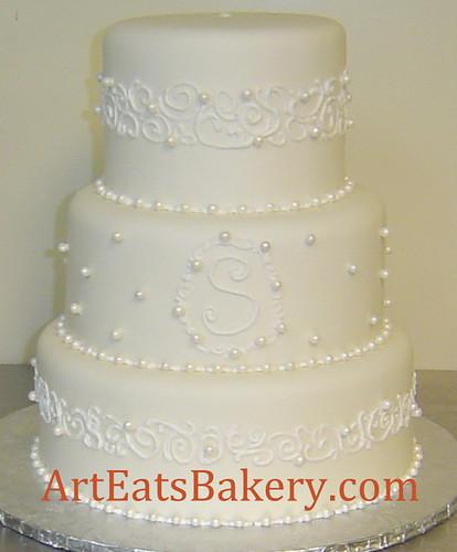 Ivory Wedding Cake With Pearls Ivory Fondant Wedding Cake