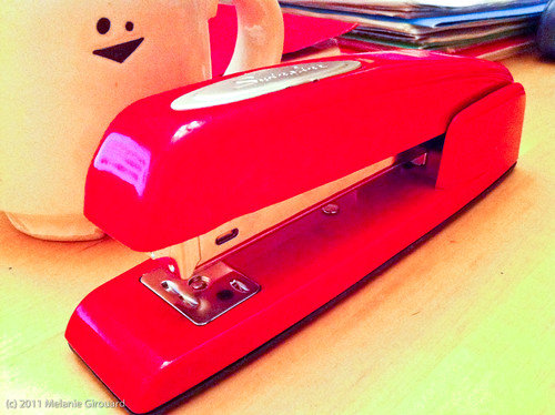 My very own red Swingline stapler.