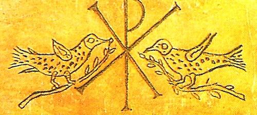 Símbolos de la nueva fe palomas con ramitas de olivo y monograma de Cristo.