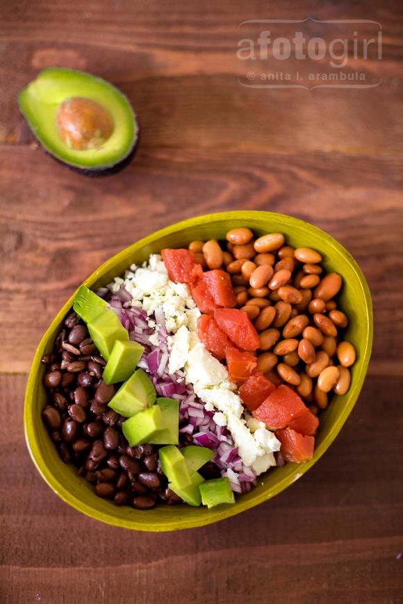 Two bean salad with Avocado, Tomato and Feta