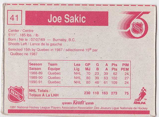Kraft Dinner - Joe Sakic - Back