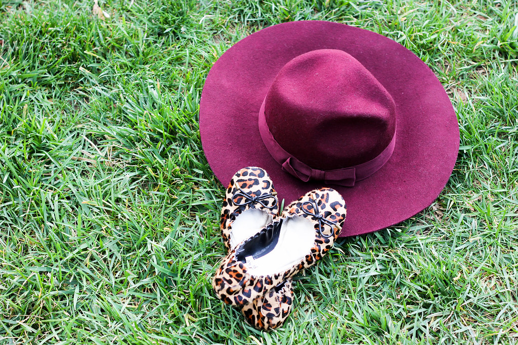 plum hats and leopard flats
