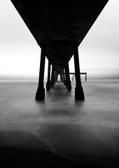 Under Pacifica Pier (danielpivnick) Tags: ocean california sunset pier blackwhite bayarea pacifica pacificapier