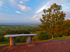 Take a Seat. By Ian Layzell (IANLAYZELLUK) Tags: uk autumn trees sunset england sky tree nature bench landscape evening landscapes countryside october view country views worcestershire clee nationaltrust sunsetting earlyevening worcs landscaped benchwithaview cleehills autumnsunset takeaseat october2011 ianlayzell sunsettingoverthecleehills