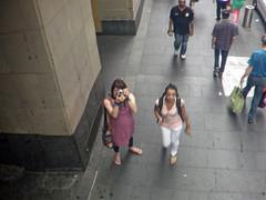 Looking Up (justplainrachel) Tags: camera pink reflection public mirror tv rachel dress cd sydney tgirl tranny pedestrians crossdresser pinafore justplainrachel