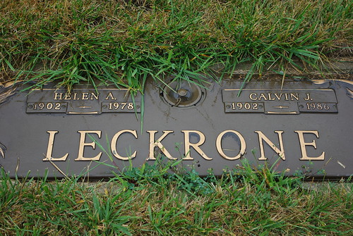 Calvin and Helen Leckrone marker