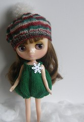 Middie Green Snowflake Romper and Snowball Beret